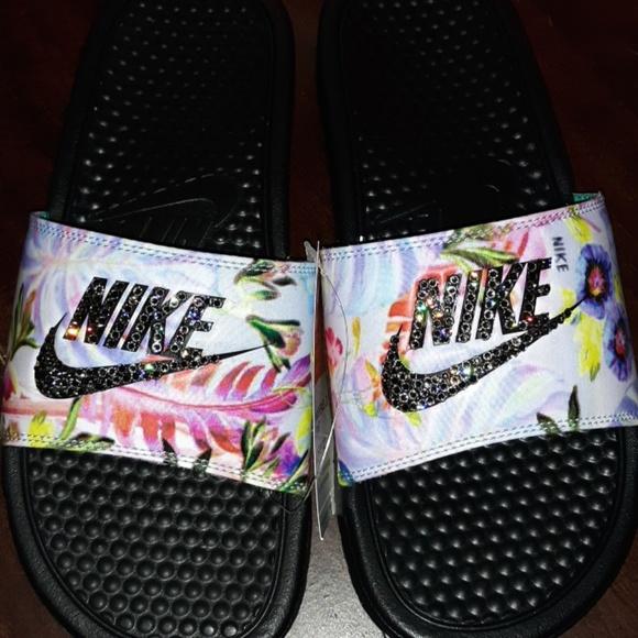 5fabcdb50a81 Nike Shoes   Benassi Slide Swarovski Black Crystals   Poshmark